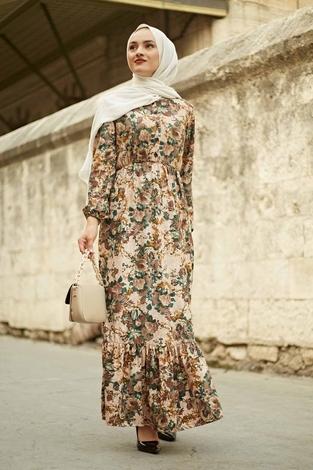 Yakası Düğme Detaylı Çiçekli Elbise 180SB8714 Zümrüt Yeşili - Thumbnail