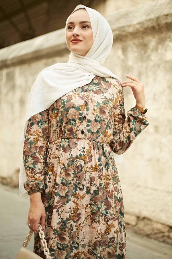 Yakası Düğme Detaylı Çiçekli Elbise 180SB8714 Zümrüt Yeşili