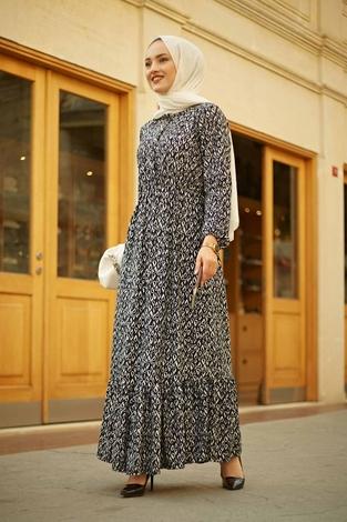 HBS - Yakası Düğme Detaylı Desenli Elbise 180SB8714 Lacivert