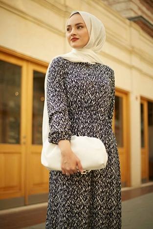HBS - Yakası Düğme Detaylı Desenli Elbise 180SB8714 Lacivert (1)