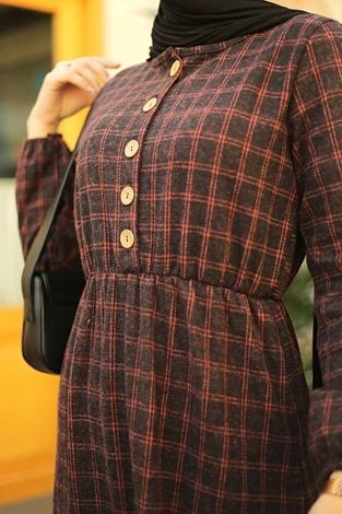 HBS - Yakası Düğme Detaylı Kareli Elbise 180SB8740 Gülk. (1)