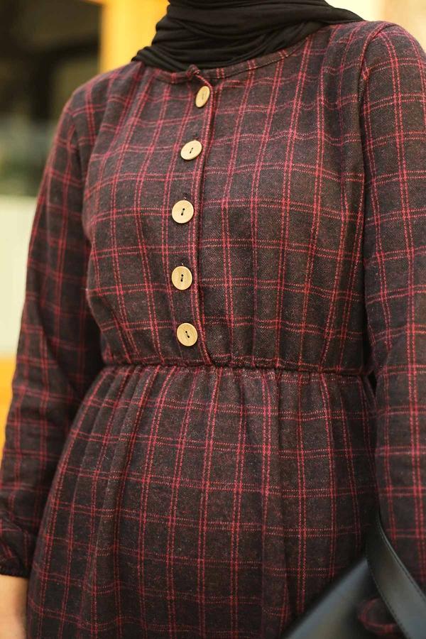 Yakası Düğme Detaylı Kareli Elbise 180SB8740 Kırmızı