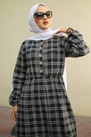 HBS - Yakası Düğme Detaylı Kareli Elbise 180SB8740 Siyah (1)