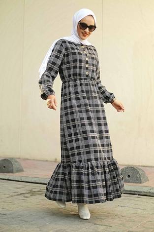 HBS - Yakası Düğme Detaylı Kareli Elbise 180SB8740 Siyah
