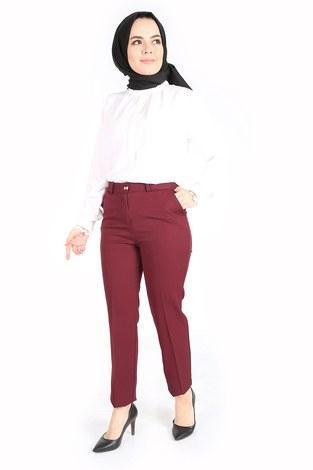 - Yandan Cepli Klasik Pantolon 60703-2 Bordo