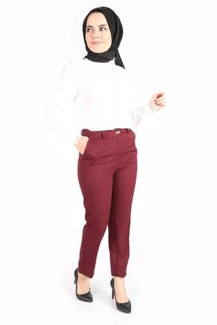 - Yandan Cepli Klasik Pantolon 60703-2 Bordo (1)