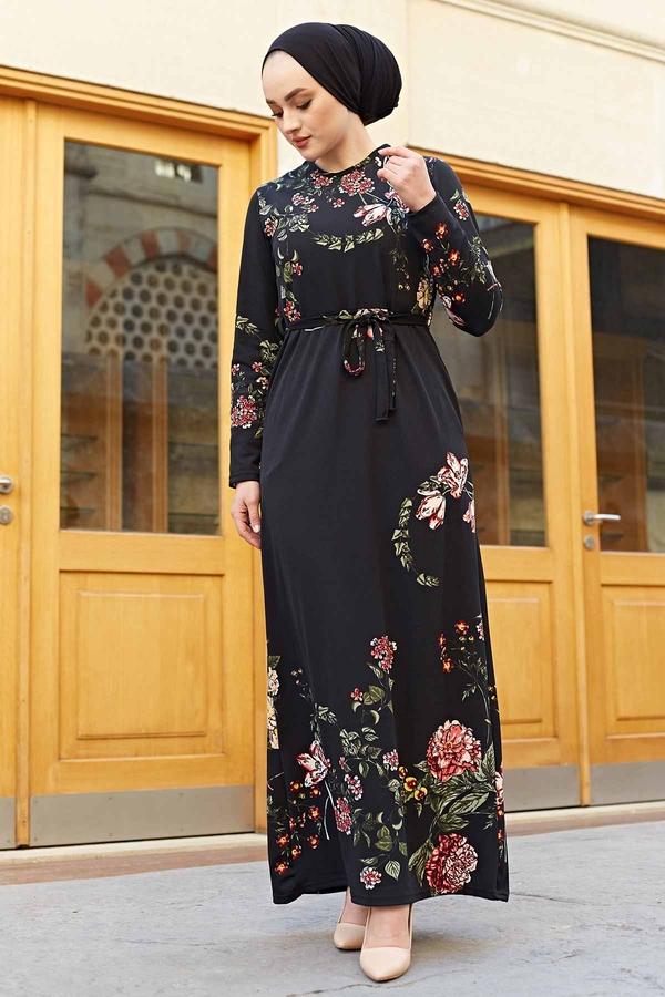 Yaprak Çiçek Desenli Elbise 190E56231 Siyah