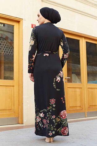 Yaprak Çiçek Desenli Elbise 190E56231 Siyah - Thumbnail