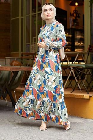 - Yaprak Desen Elbise 9031-1