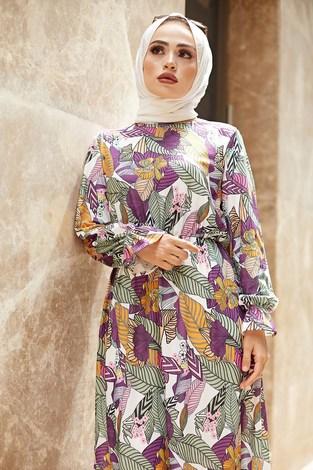 - Yaprak Desen Elbise 9031-2 (1)