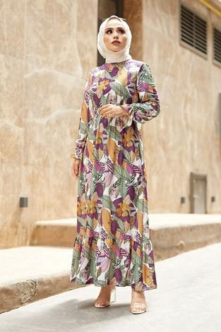 - Yaprak Desen Elbise 9031-2