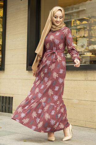 Yaprak Desen Kaşkorse Elbise 120NY2000 Bordo - Thumbnail