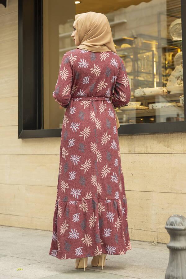 Yaprak Desen Kaşkorse Elbise 120NY2000 Bordo