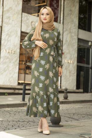 Yaprak Desen Kaşkorse Elbise 120NY2000 Haki - Thumbnail