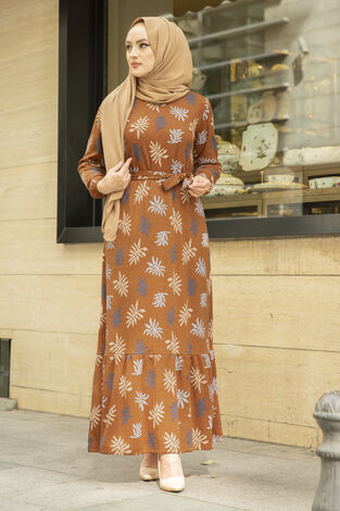 Yaprak Desen Kaşkorse Elbise 120NY2000 Hardal - Thumbnail