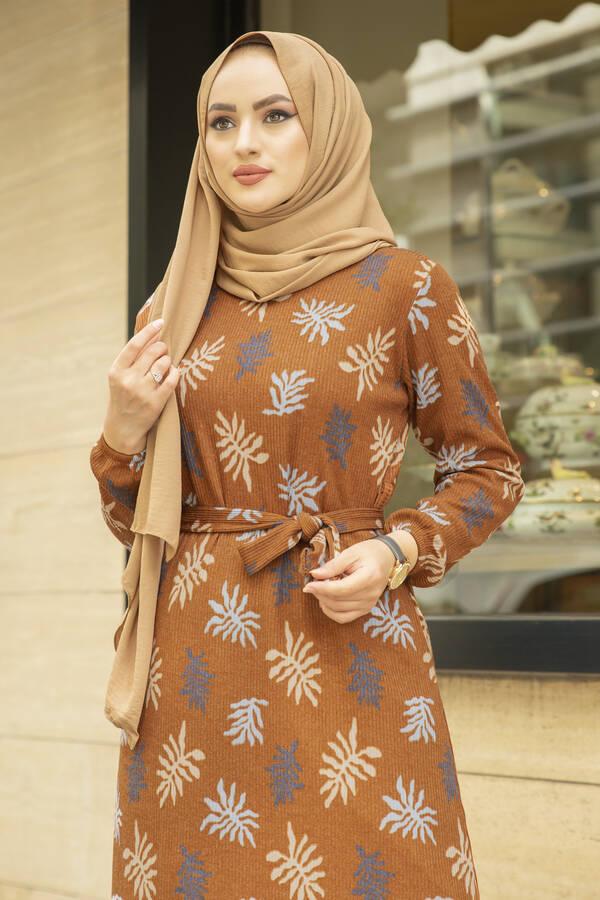 Yaprak Desen Kaşkorse Elbise 120NY2000 Hardal
