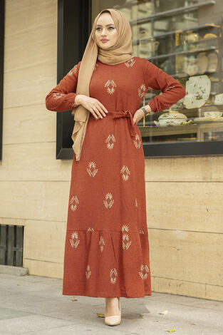 Yaprak Desen Kaşkorse Elbise 120NY2000 Kiremit - Thumbnail