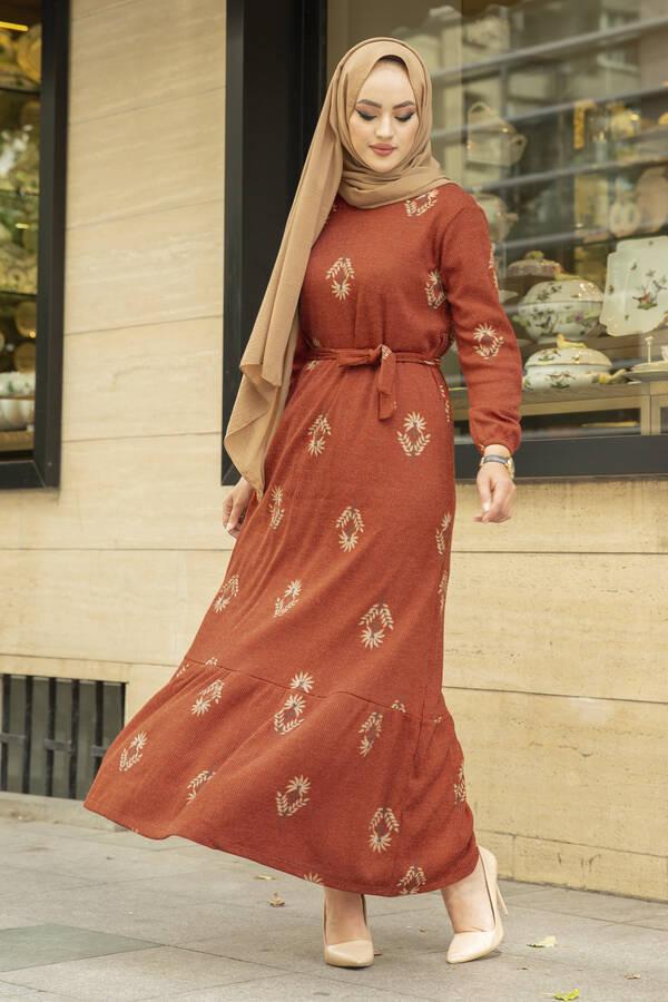 Yaprak Desen Kaşkorse Elbise 120NY2000 Kiremit