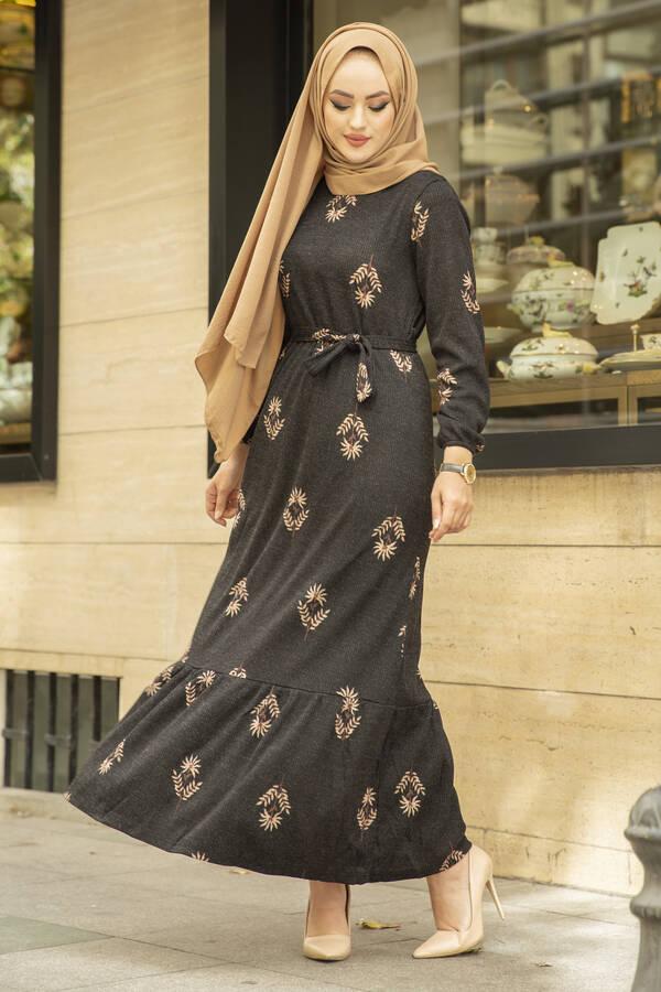 Yaprak Desen Kaşkorse Elbise 120NY2000 Siyah