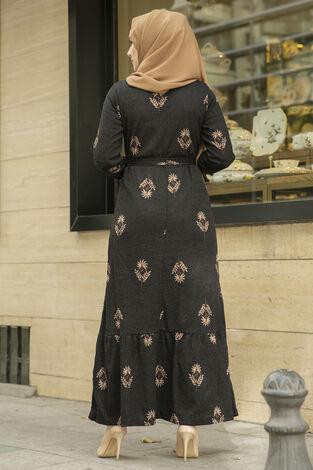Yaprak Desen Kaşkorse Elbise 120NY2000 Siyah - Thumbnail