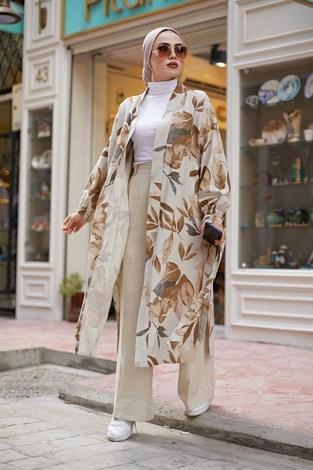 - Yapraklı Kimono 5751-1 Taba (1)