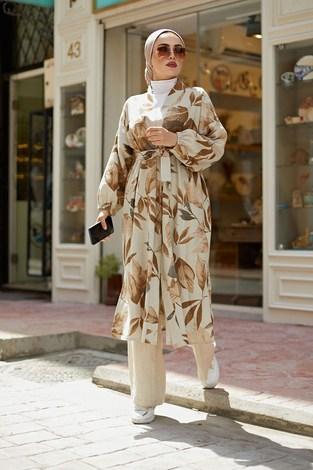 - Yapraklı Kimono 5751-1 Taba