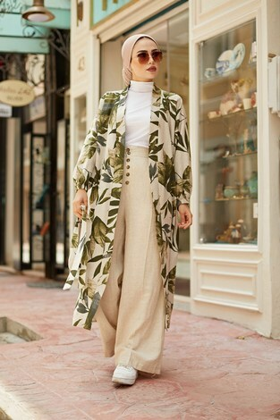 - Yapraklı Kimono 5751-2 Haki