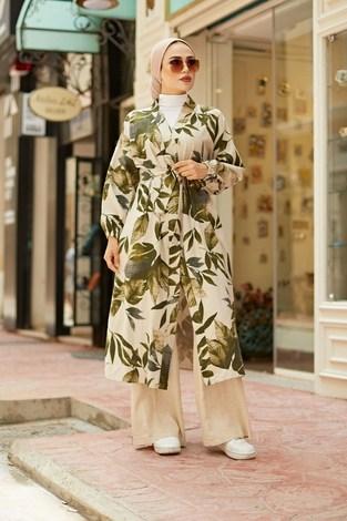 - Yapraklı Kimono 5751-2 Haki (1)