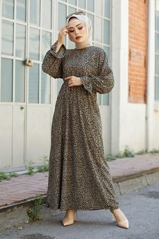 - Yarasa Kol Beli Büzgülü Damla Desen Elbise 17631-11 Bej