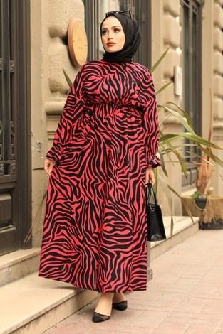 - Yarasa Kol Beli Büzgülü Zebra Desen Elbise 17631-1 Fuşya