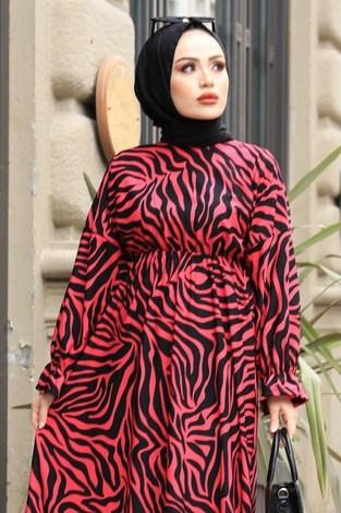 - Yarasa Kol Beli Büzgülü Zebra Desen Elbise 17631-1 Fuşya (1)