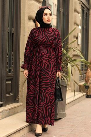 - Yarasa Kol Beli Büzgülü Zebra Desen Elbise 17631-2 Bordo