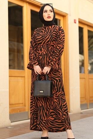 - Yarasa Kol Beli Büzgülü Zebra Desen Elbise 17631-5 Kiremit