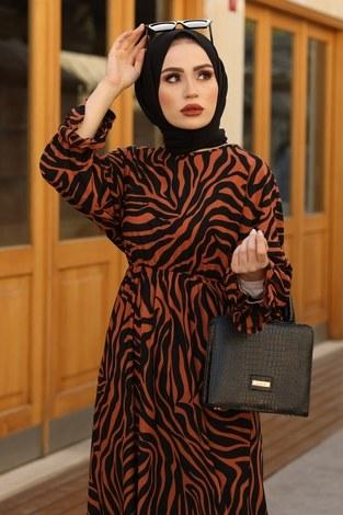 - Yarasa Kol Beli Büzgülü Zebra Desen Elbise 17631-5 Kiremit (1)