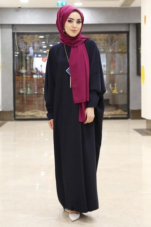 Yarasa Kol Ferace Elbise 5676-5 lacivert