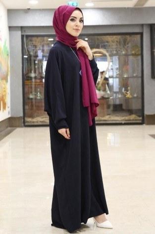 Yarasa Kol Ferace Elbise 5676-5 lacivert - Thumbnail