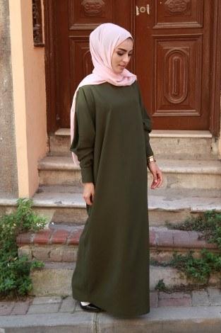 - Yarasa Kol Ferace Elbise 5676-13
