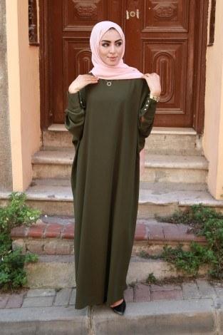 Yarasa Kol Ferace Elbise 5676-13 - Thumbnail