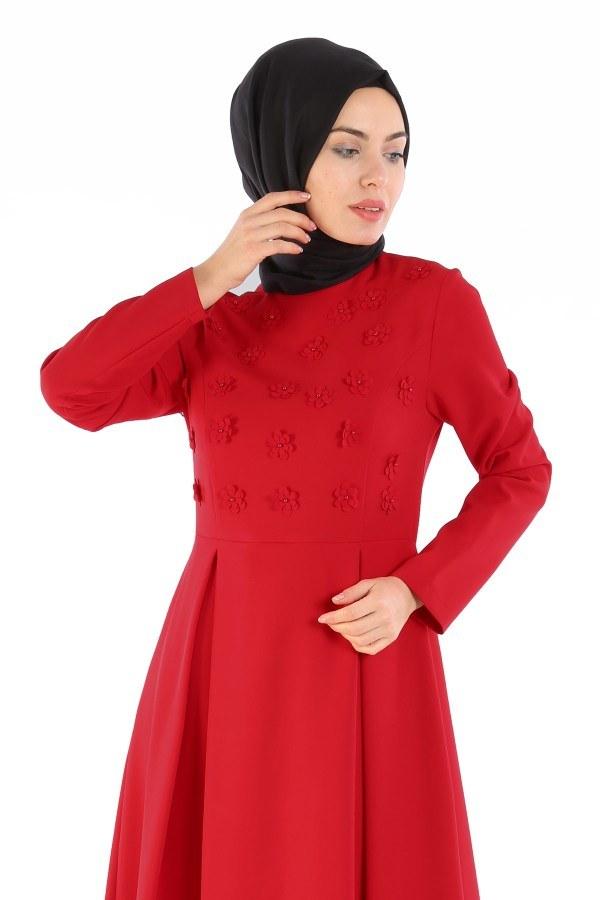 Papatya Detaylı Elbise 1581-01