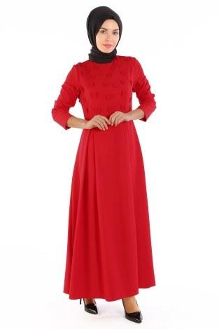 - Papatya Detaylı Elbise 1581-01