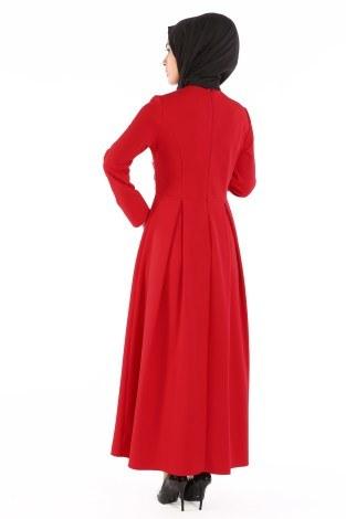 Papatya Detaylı Elbise 1581-01 - Thumbnail