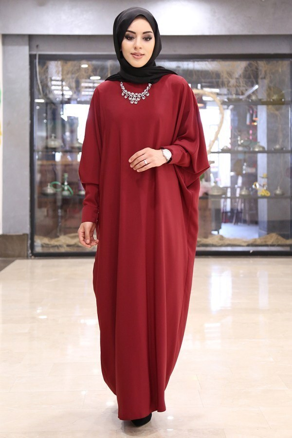 Yarasa Kol Ferace Elbise 5676-6 Kırmızı
