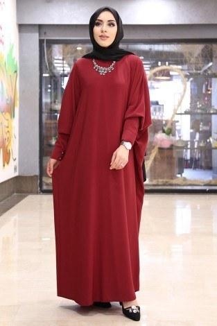Yarasa Kol Ferace Elbise 5676-6 Kırmızı - Thumbnail