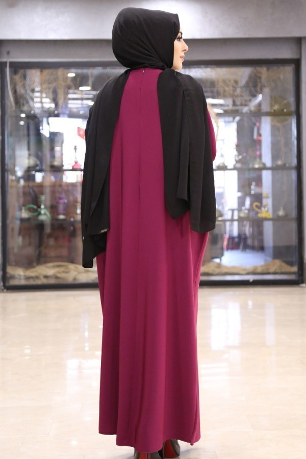 Yarasa Kol Ferace Elbise 5676-8 Mürdüm