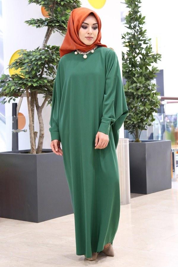 Yarasa Kol Ferace Elbise 5676-7 Yeşil