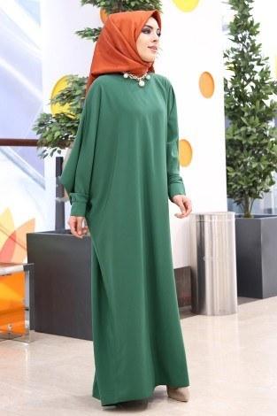 Yarasa Kol Ferace Elbise 5676-7 Yeşil - Thumbnail