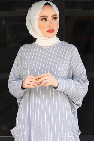 - Yarasa Kol Giy Çık Tunik 2728-6 Gri (1)