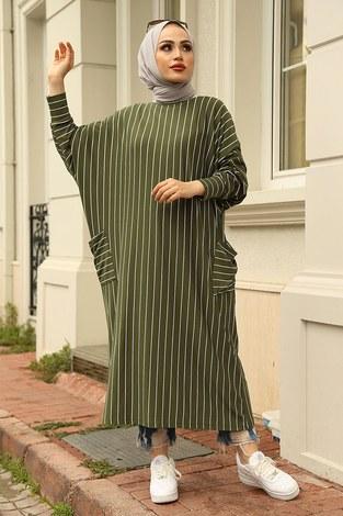 - Yarasa Kol Giy Çık Tunik 2728-9 Haki