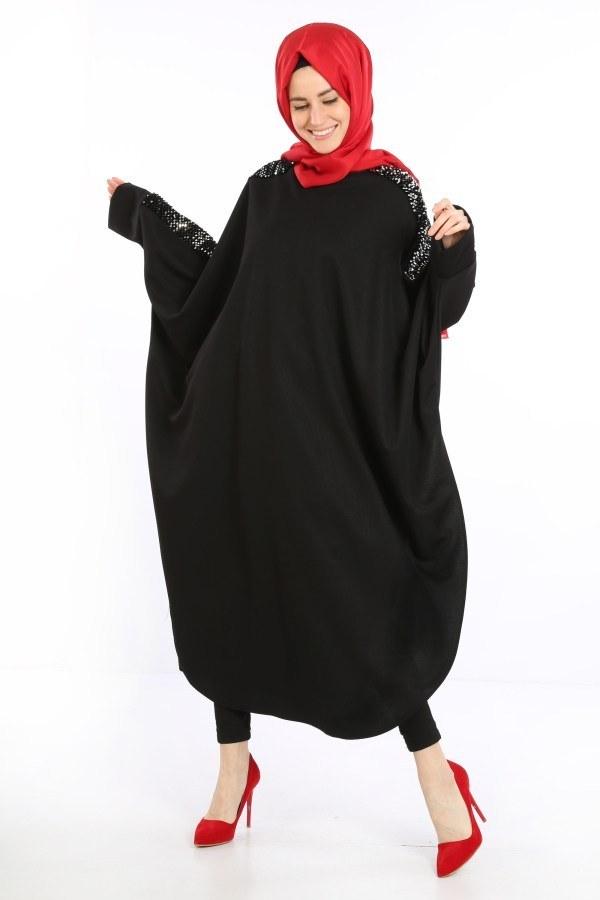 Yarasa Kol Pul Payetli Tunik 5658-01