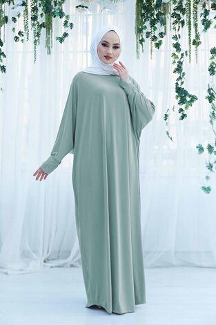 Yarasa Kol Salaş Ferace Elbise 190E-6738 Mint - Thumbnail